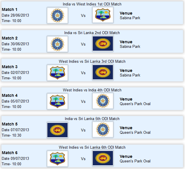 India Sri Lanka in West Indies Tri-Series 2013 Live Scores Fixtures