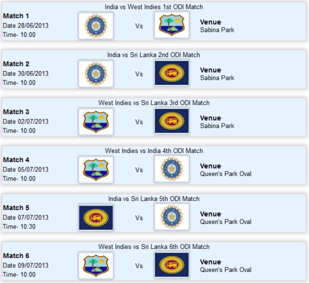India Sri Lanka in West Indies Tri-Series 2013 Live Scores Fixtures