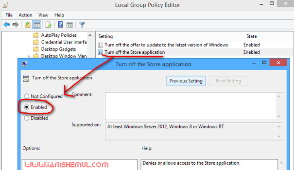 Disable the Windows Store in Windows 8